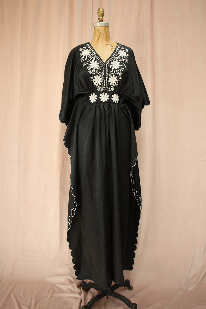 Washable Silk Vintage Embroidered Kaftan Dress