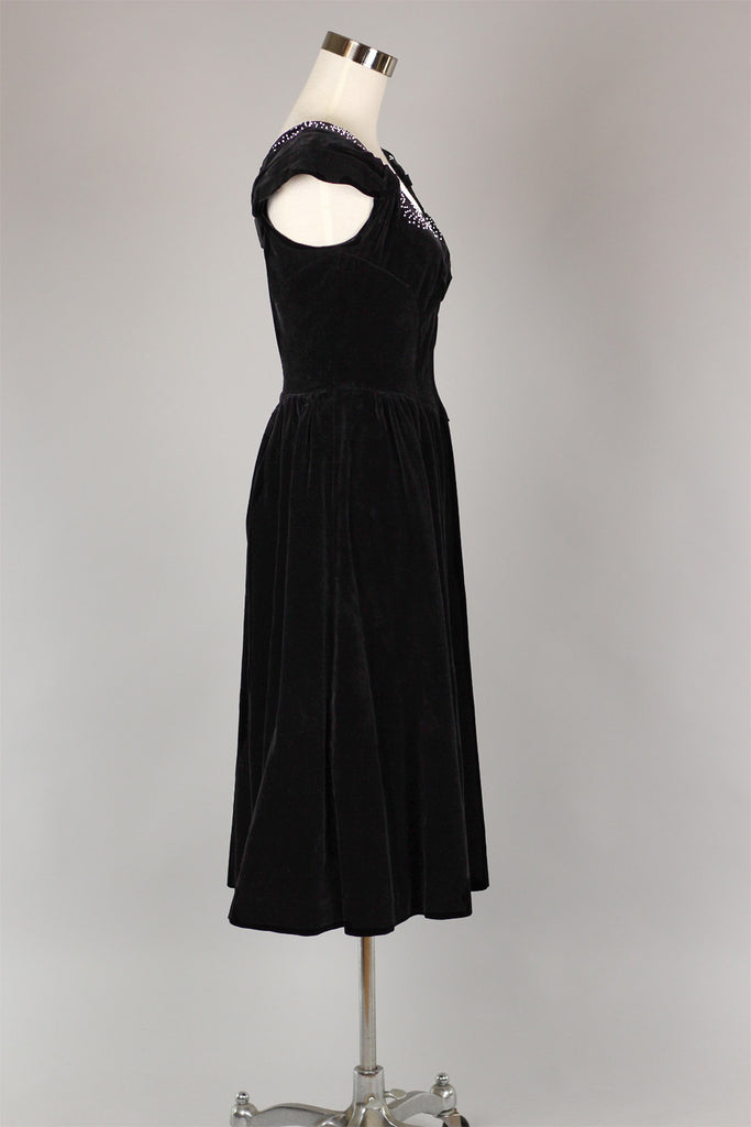 1950s Black Velvet Party Holiday Dress