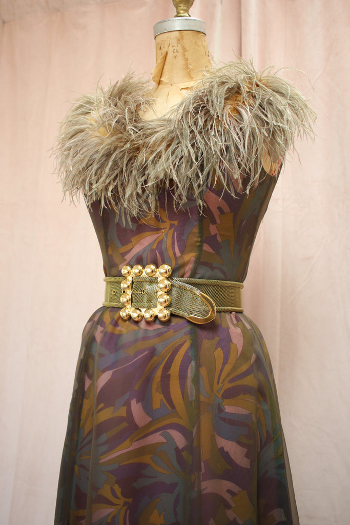 Jack Bryan Ostrich Feather Dress