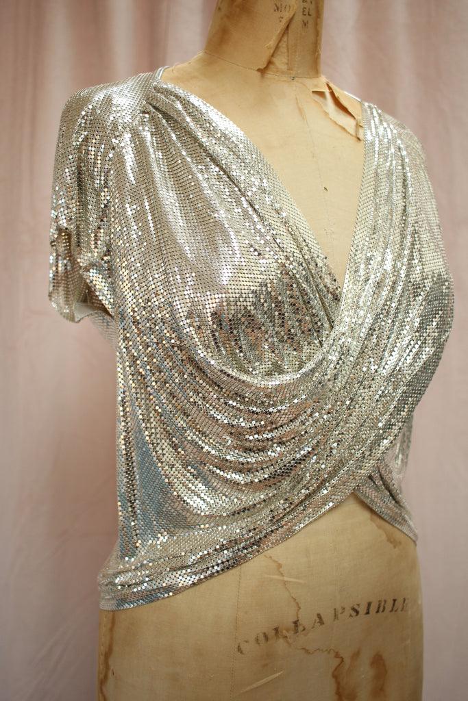 Rare Whiting & Davis Silver Mesh Cowl Top