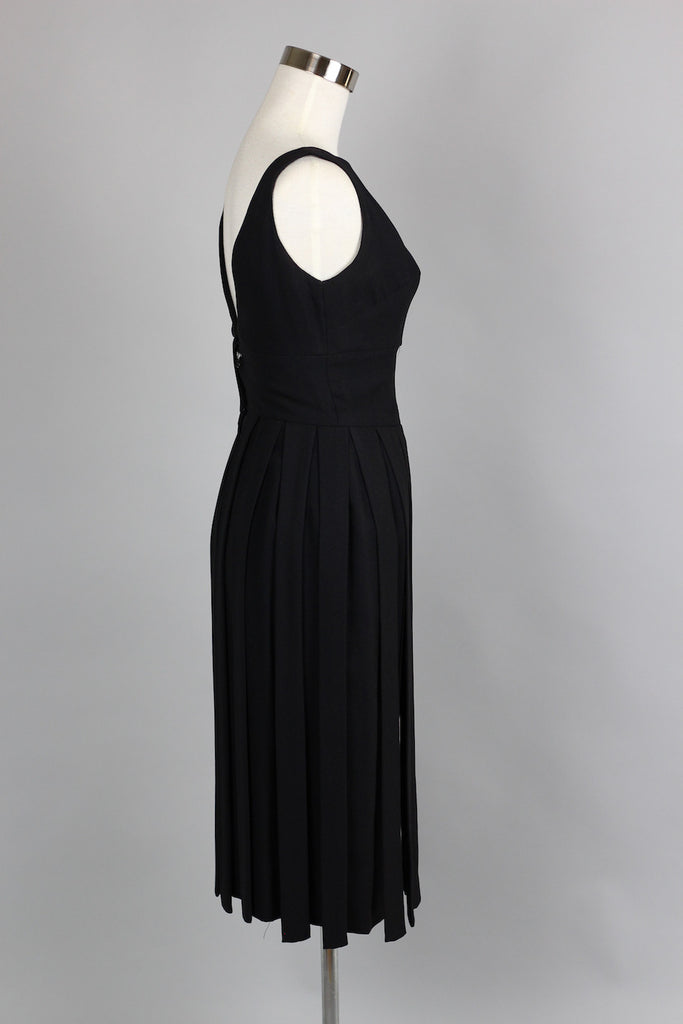 1960s Car Wash Fringe Black Cocktail Dress