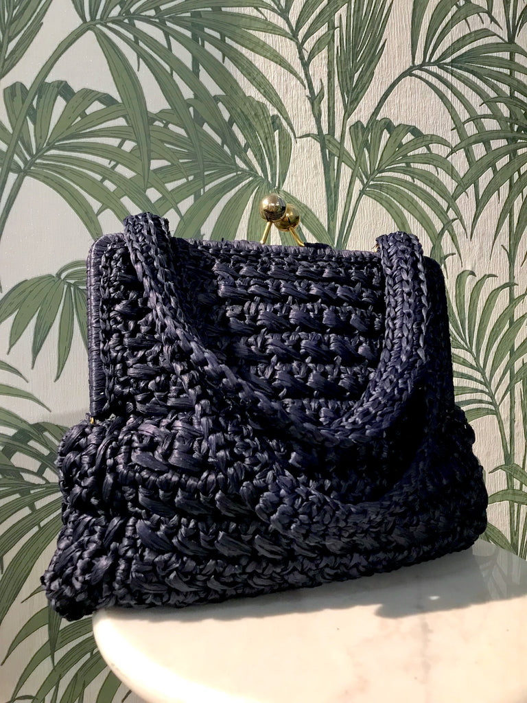 Vintage 1960s-70s Navy Straw Bag with Gold Ball Clasp