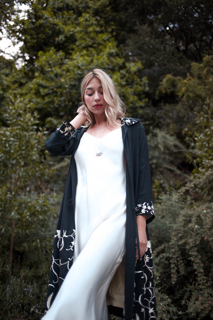 1920s Black and White Silk Embroidered Duster Coat