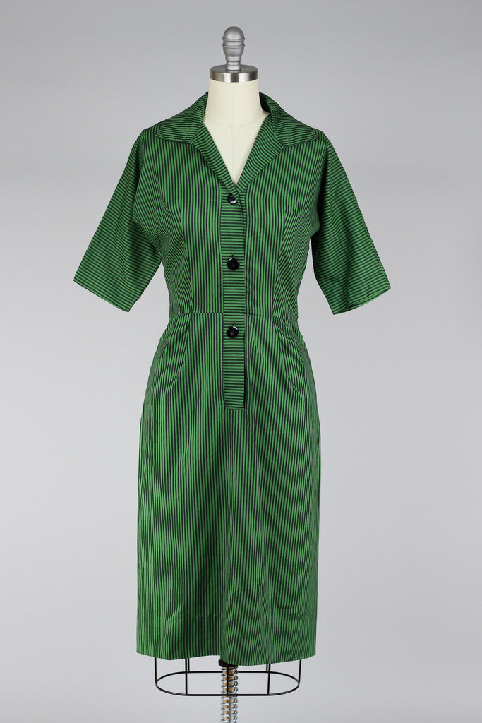 1960s Stripe My Fancy Green Fitted Cotton Wiggle Dress