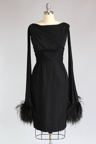 1960s Black Chiffon Dress with Ostrich Feathers