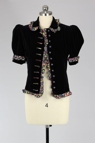 1940s Velveteen Jacket Top with Novelty Print Silk Detail