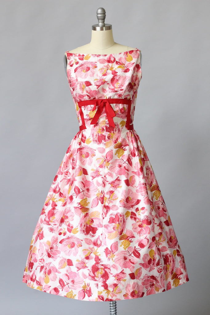 1950s Rose Print Fit and Flare Dress