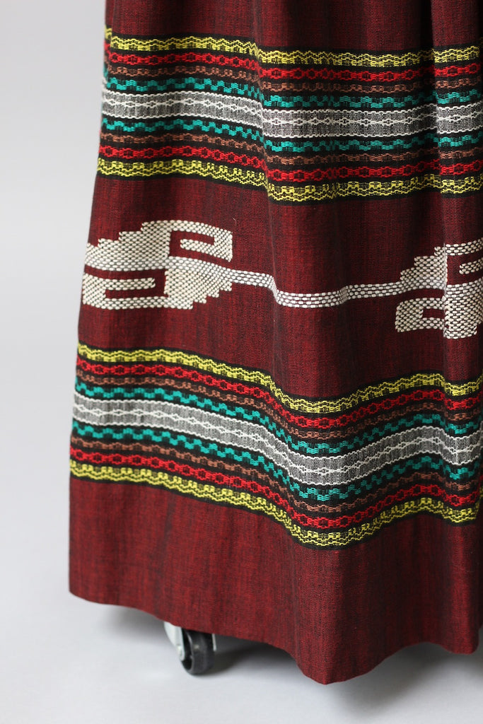 1950s Oaxacan Mexican Embroidered Maxi Skirt