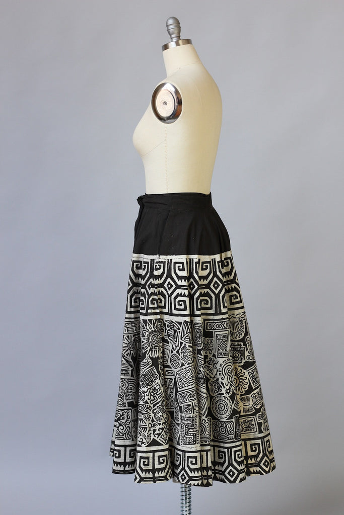 1940s Hand Printed Mexican Circle Skirt