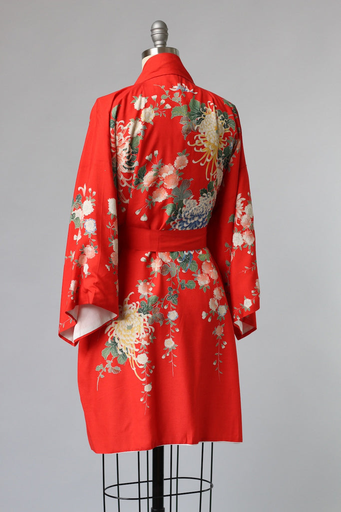 1940s Red Japanese Silk Robe with Edo Period Block Print
