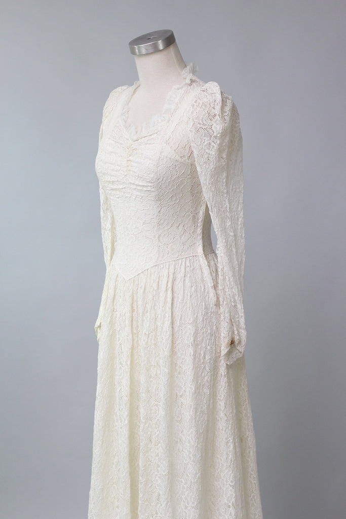 Handmade 1930s 1940s Lace Wedding Gown