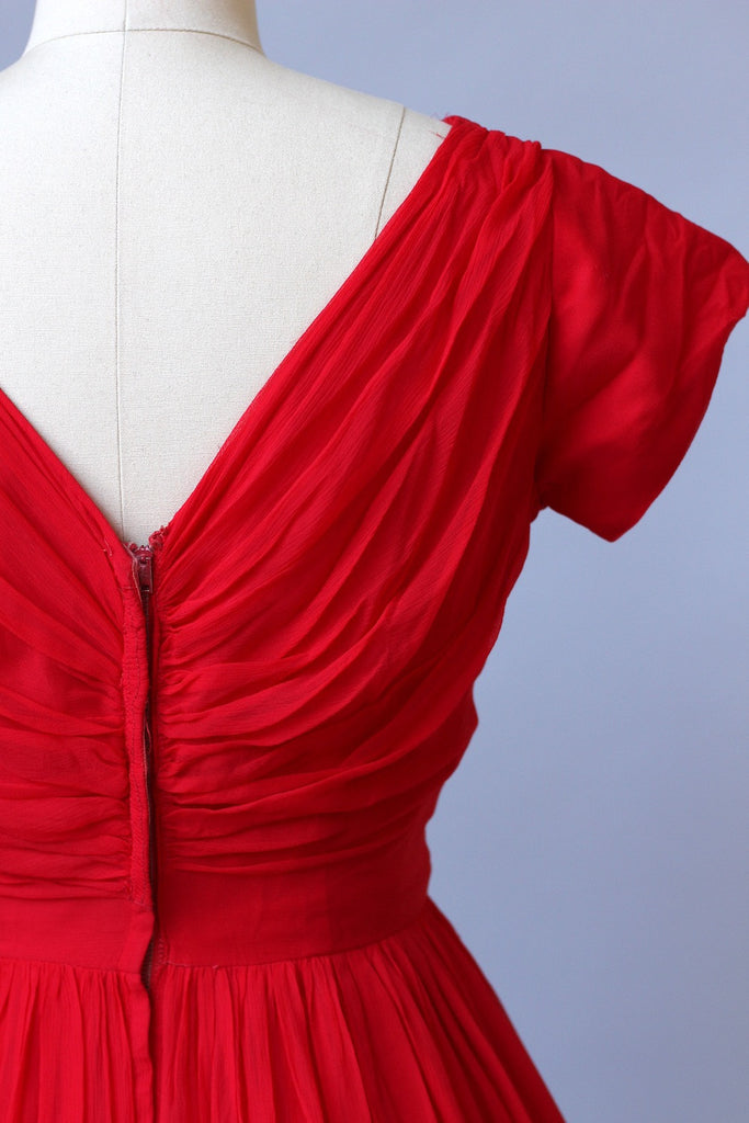 1950s Sweetheart Red Silk Chiffon Dress