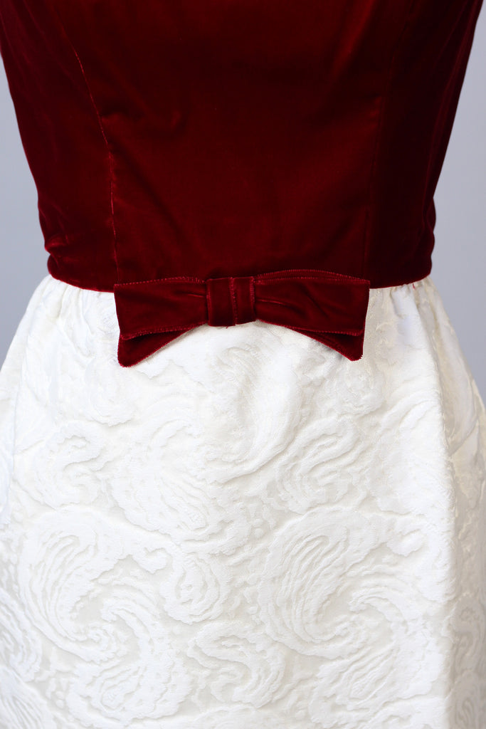 1960s White Paisley & Crimson Velvet Party Dress