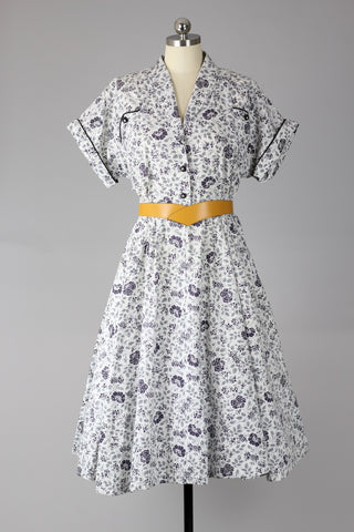 1940s Rose Print Plus Size Cotton Dress