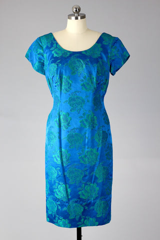1950s Rose Print Teal Brocade Dress