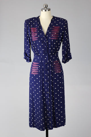 1940s Navy and White Novelty Print Rayon Dress
