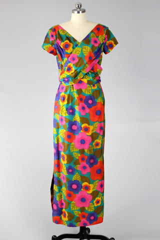 1960s Hawaiian Wrap Maxi Dress