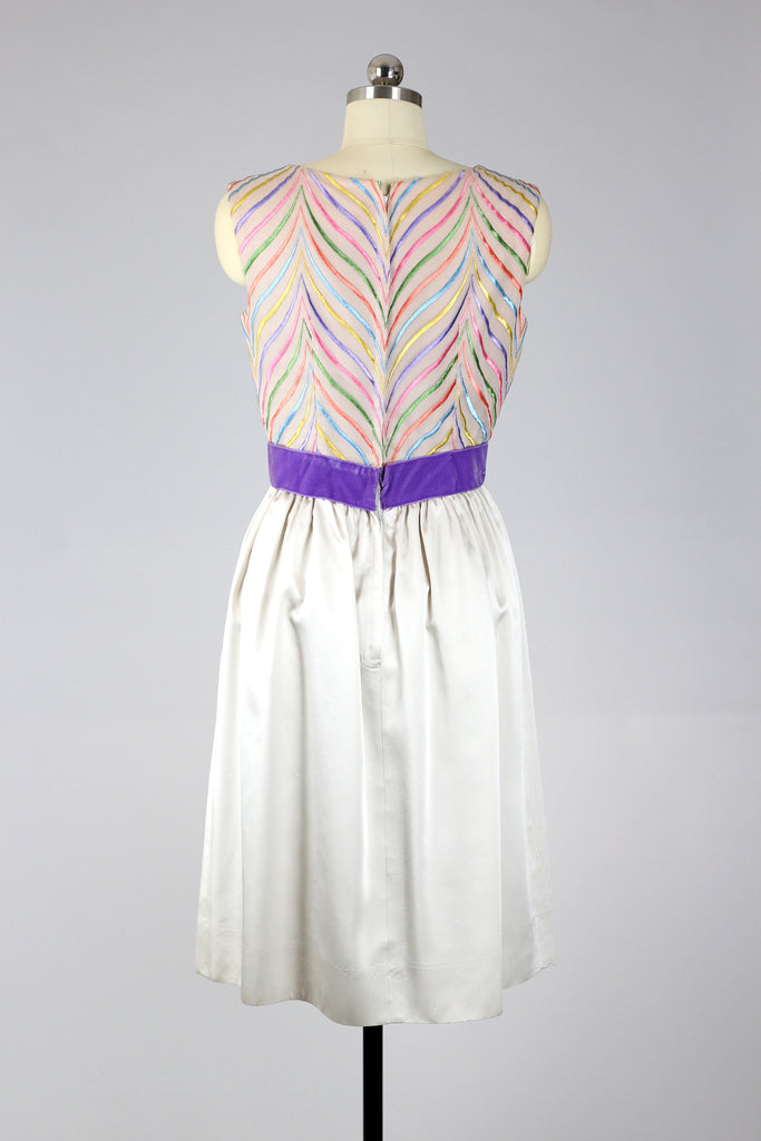 1950s Candy Swirl Embroidered Satin Dress