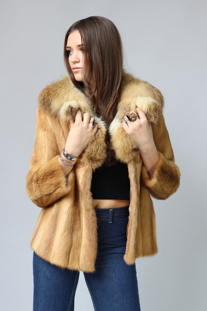 1970s Genuine Fox Fur Coat with Cropped Sleeves