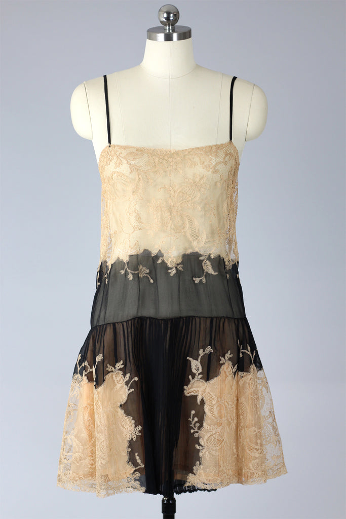 RESERVED Rare 1920s French Chantilly Lace and Chiffon Chemise