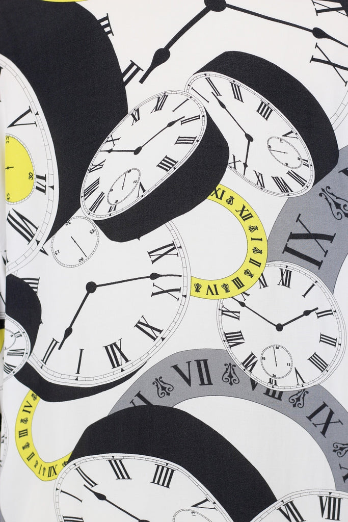 Versace Inspired Vintage Clocks Print Blouse