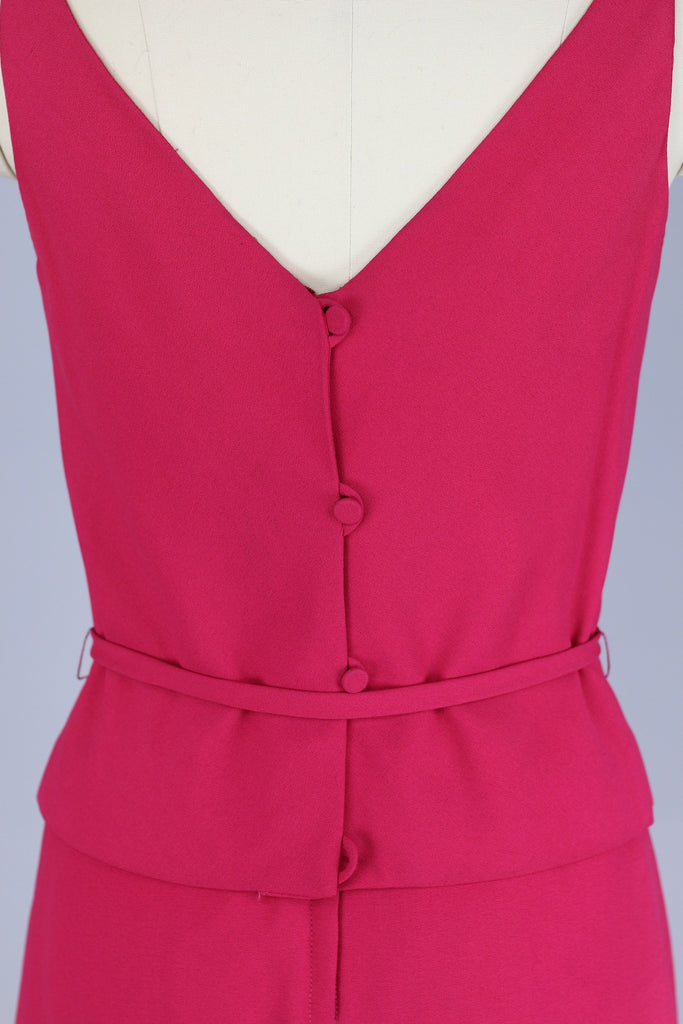 Fuchsia Pink 1960s Crepe Mini Dress