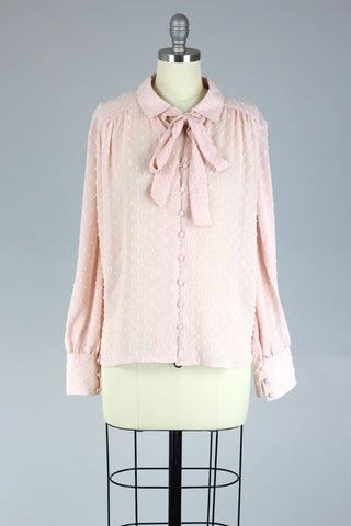 1920s Inspired Blush Pink French Tie Blouse in Swiss Dot