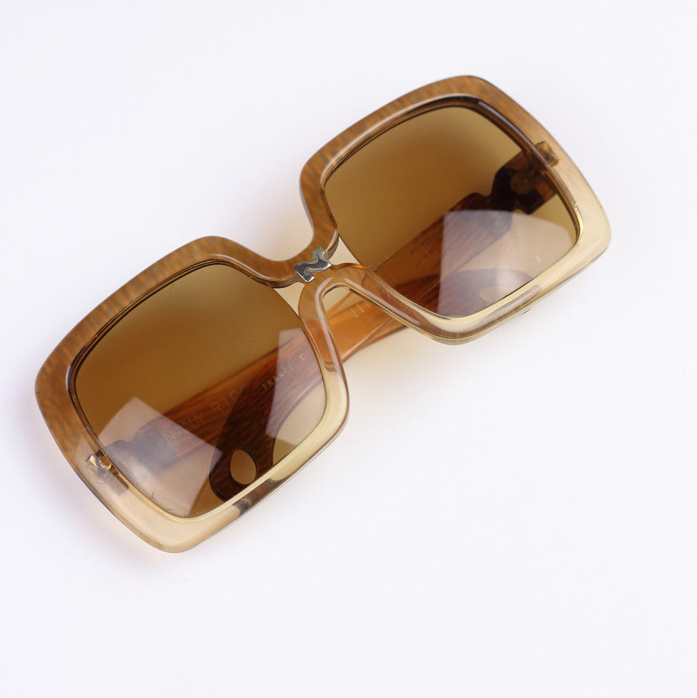 Vintage Jackie O Nina Ricci 1970s Sunglasses in Golden Brown