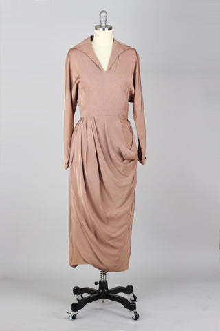 Exquisite 1940s to 1950s Rose Taupe Draped Rayon Crepe Cocktail Dress