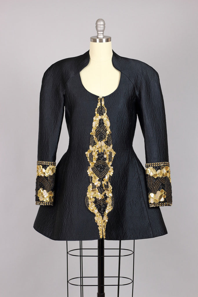 Vintage Mary McFadden Beaded Silk Peplum Jacket