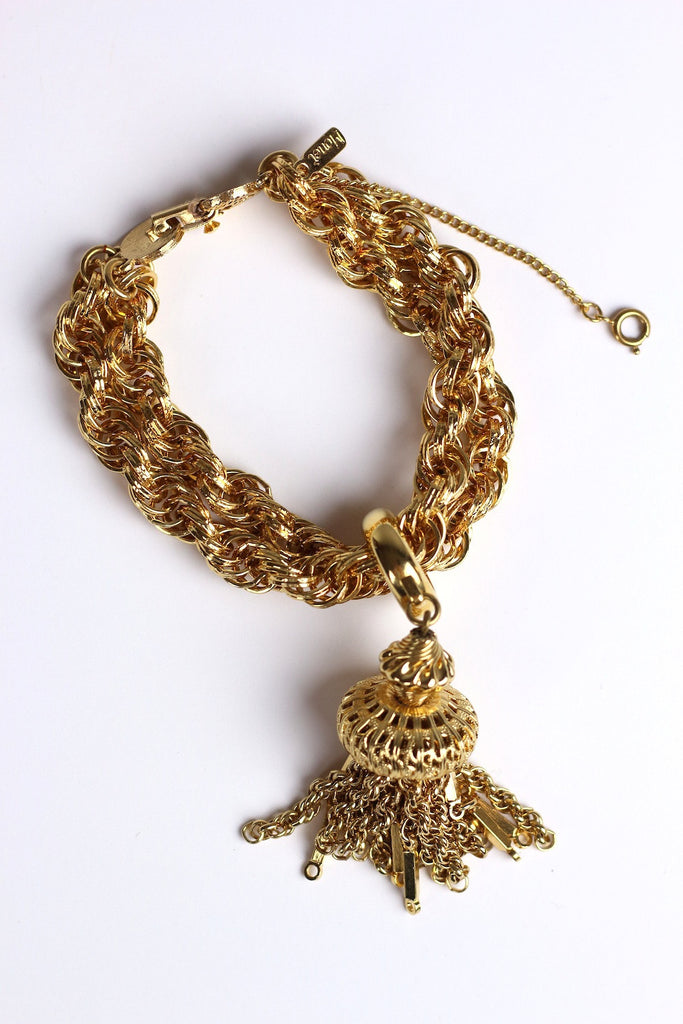 Monet Gold Tone Tassel Necklace & Bracelet Set