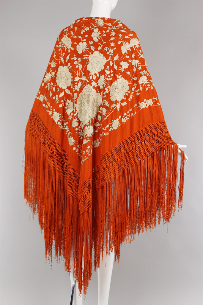 Unusual Late 19th Century Antique Orange Silk Piano Shawl of Hand Knotting