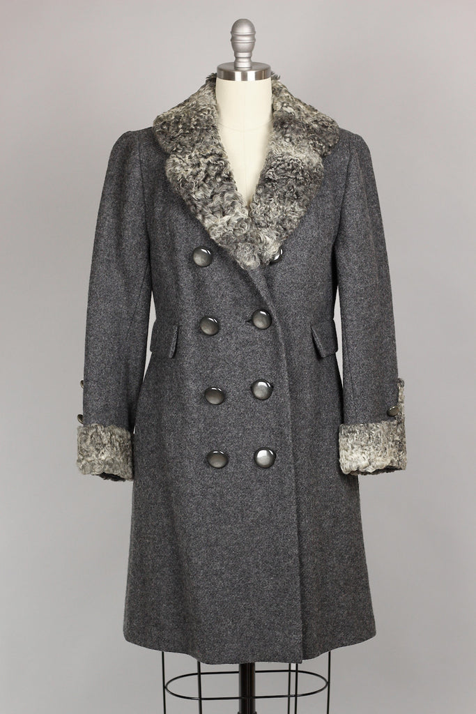 Grey 1960s Persian Lamb Wool Coat Size 6