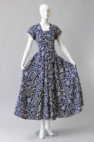 Rare 1940s Printed Cotton Pique Beach Dress
