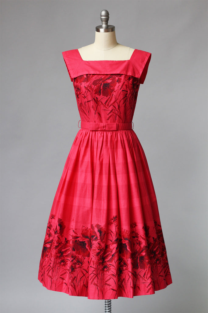 1960s Red Printed Cotton Stripes & Florals Dress