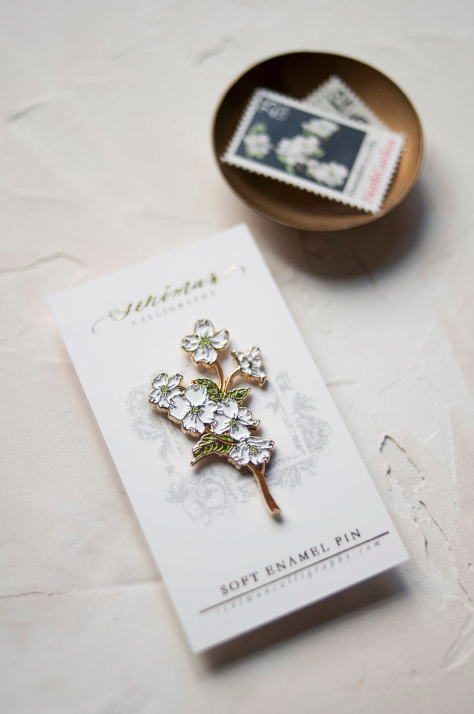White Dogwoods Soft Enamel Pin