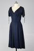 1950s Classic Navy Silk Dress with Lace-Up Sleeves
