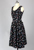 1940s Black Novelty Print Cotton Day Dress with Rhinestones