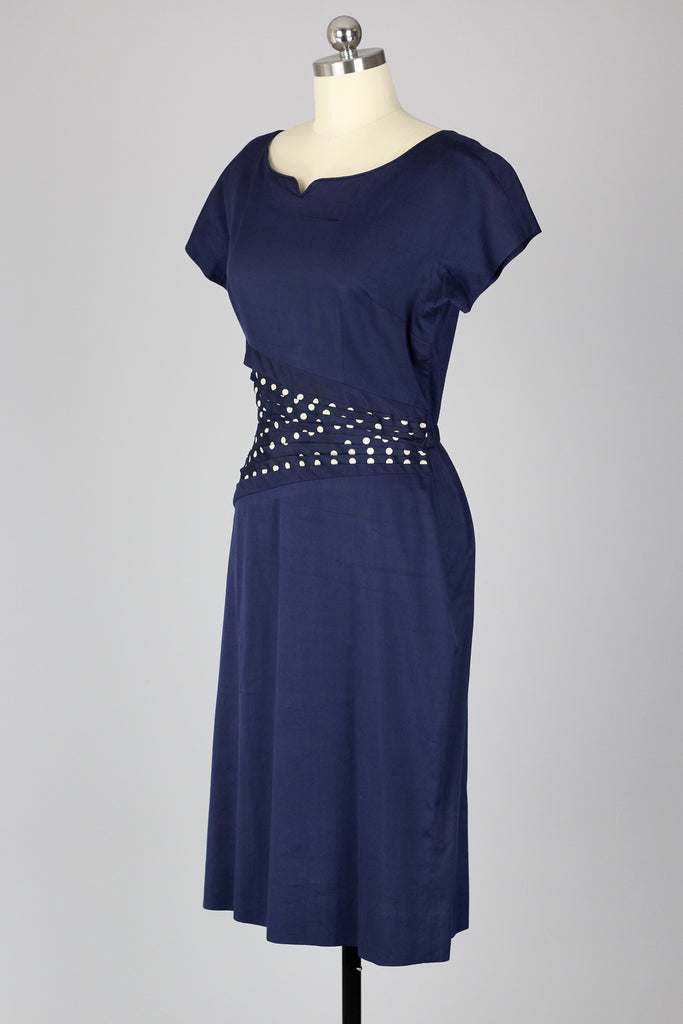 Late 1950s Gracette Polka Dot Pleated Waist Day Dress