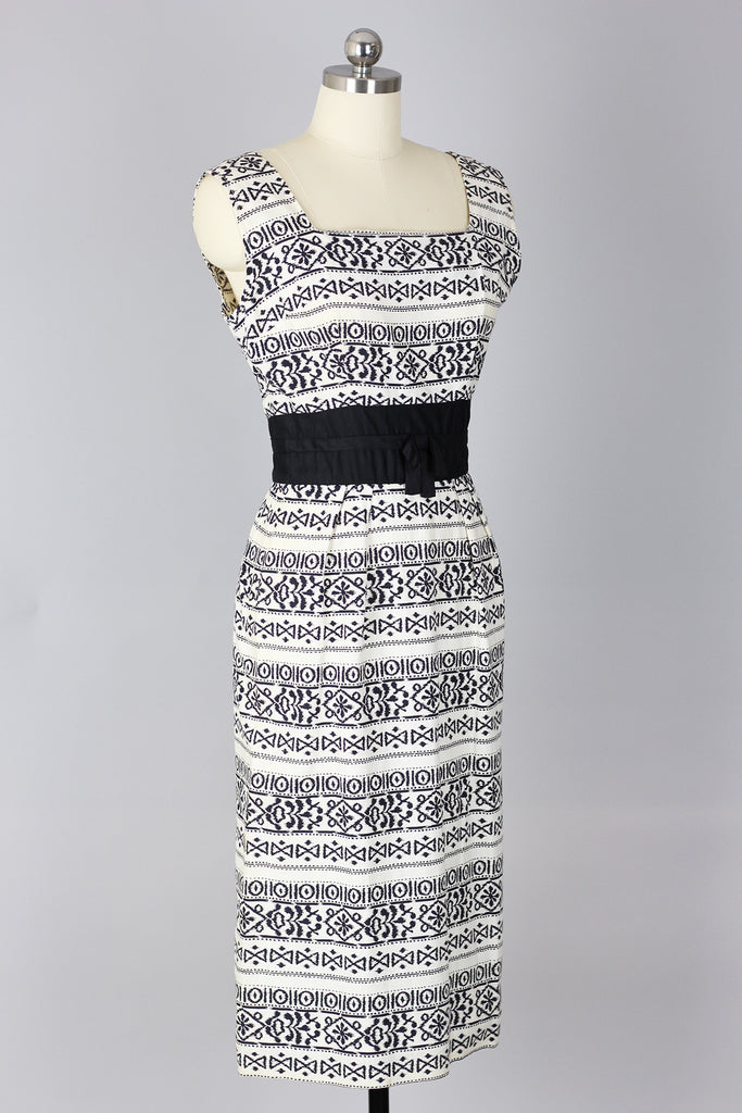 Looking Sharp 1960s Ikat Print Wiggle Dress