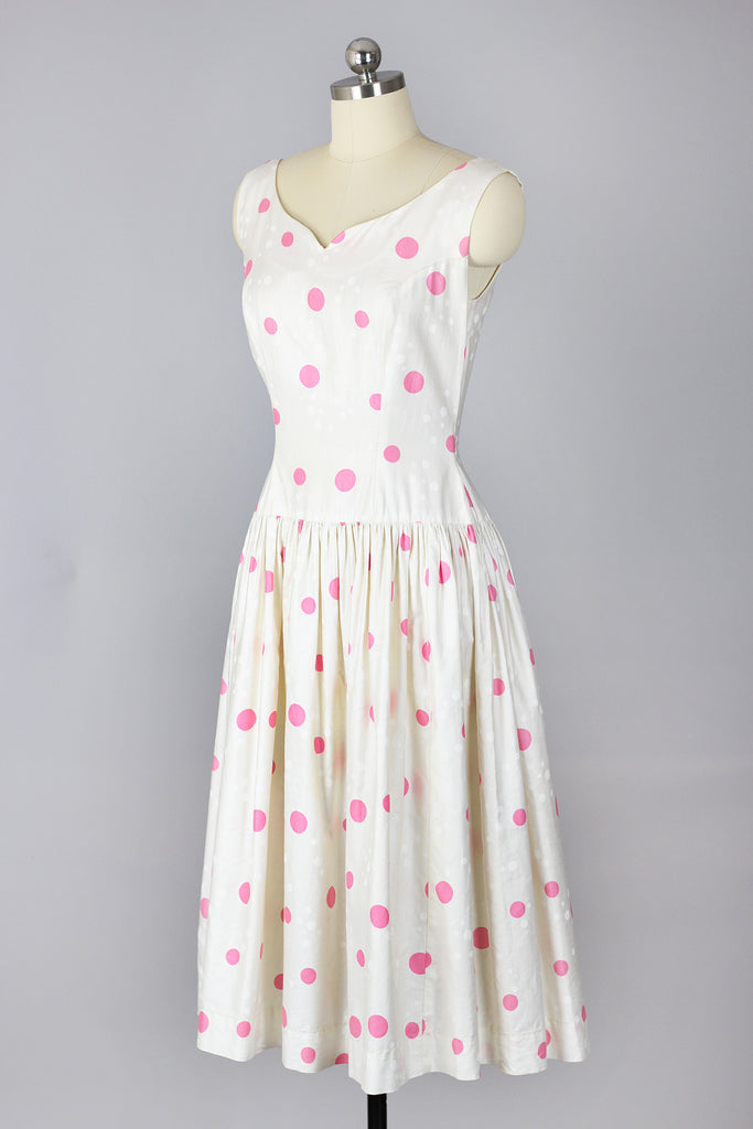 1950s Pink Polka Dot Dress