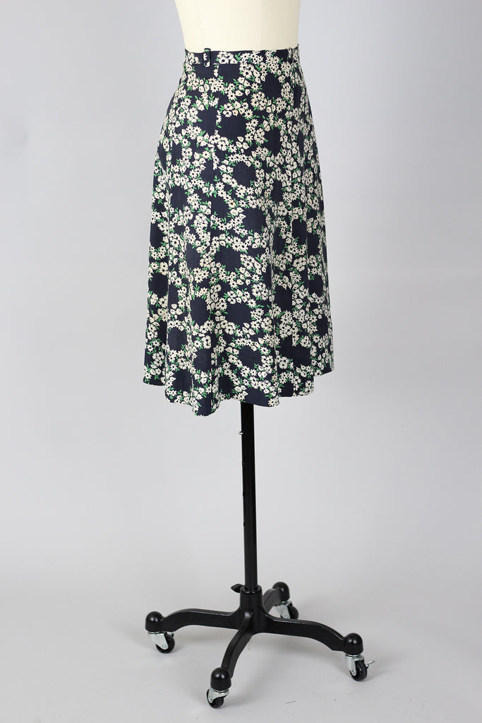 1920s Dropped Waist Rayon Floral Skirt