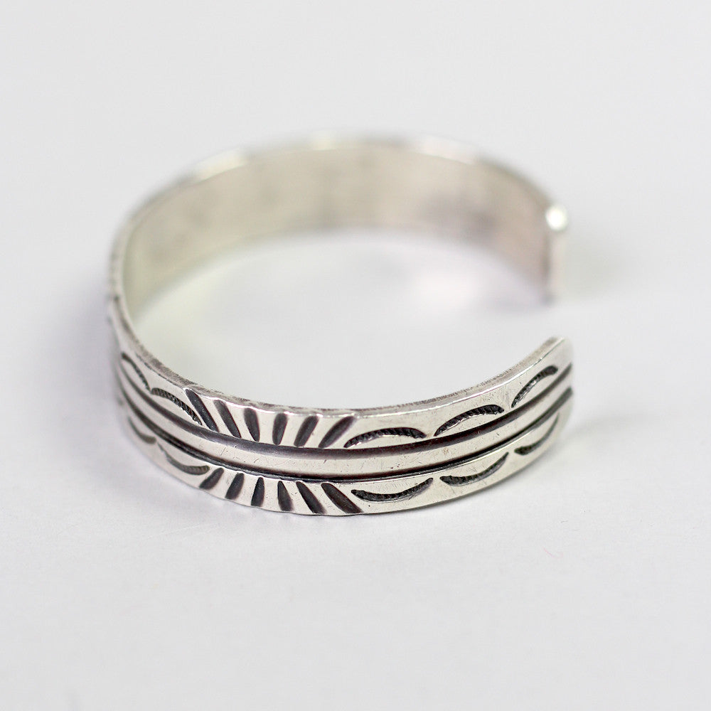 Vintage Navajo Sterling Silver Carved Cuff