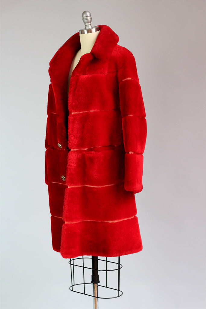 Rare 1950s Statement Red Genuine Mouton Fur Coat