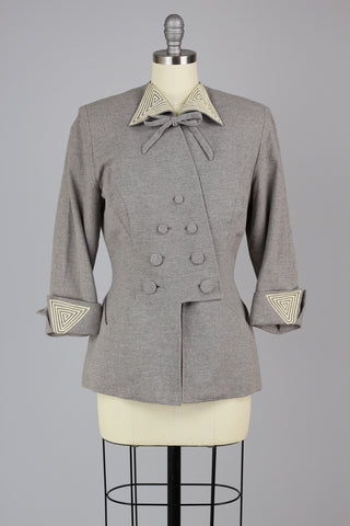 Incredible 1940s Couture Tailoring Parisian LeSur Gray Wool Jacket