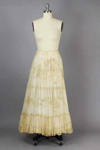 Tea-Dyed Antique Tulle Skirt with French Tambour Embroidery by Bonnie Strauss