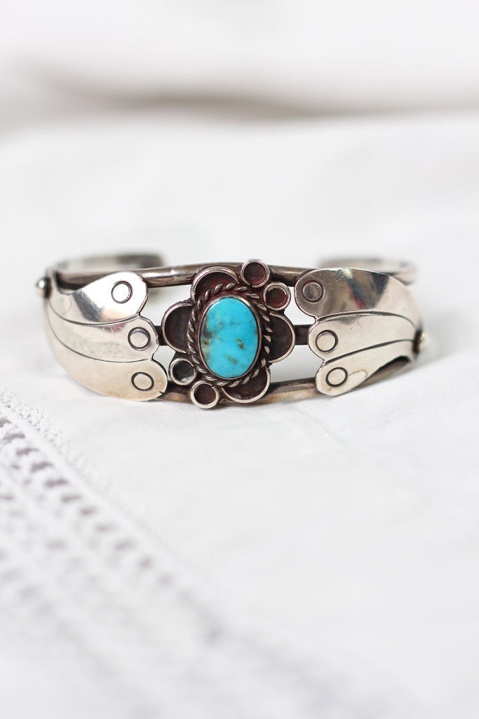 Oh Hold- Vintage Sterling Silver and Turquoise Flower Cuff