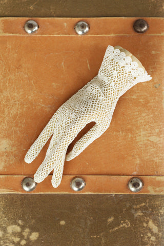 Victorian Hand Crochet Fishnet Gloves White