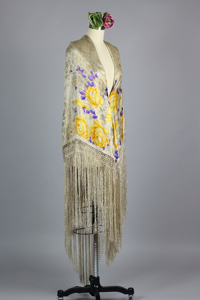 Antique Victorian Silk Fringe Shawl c. 1890s