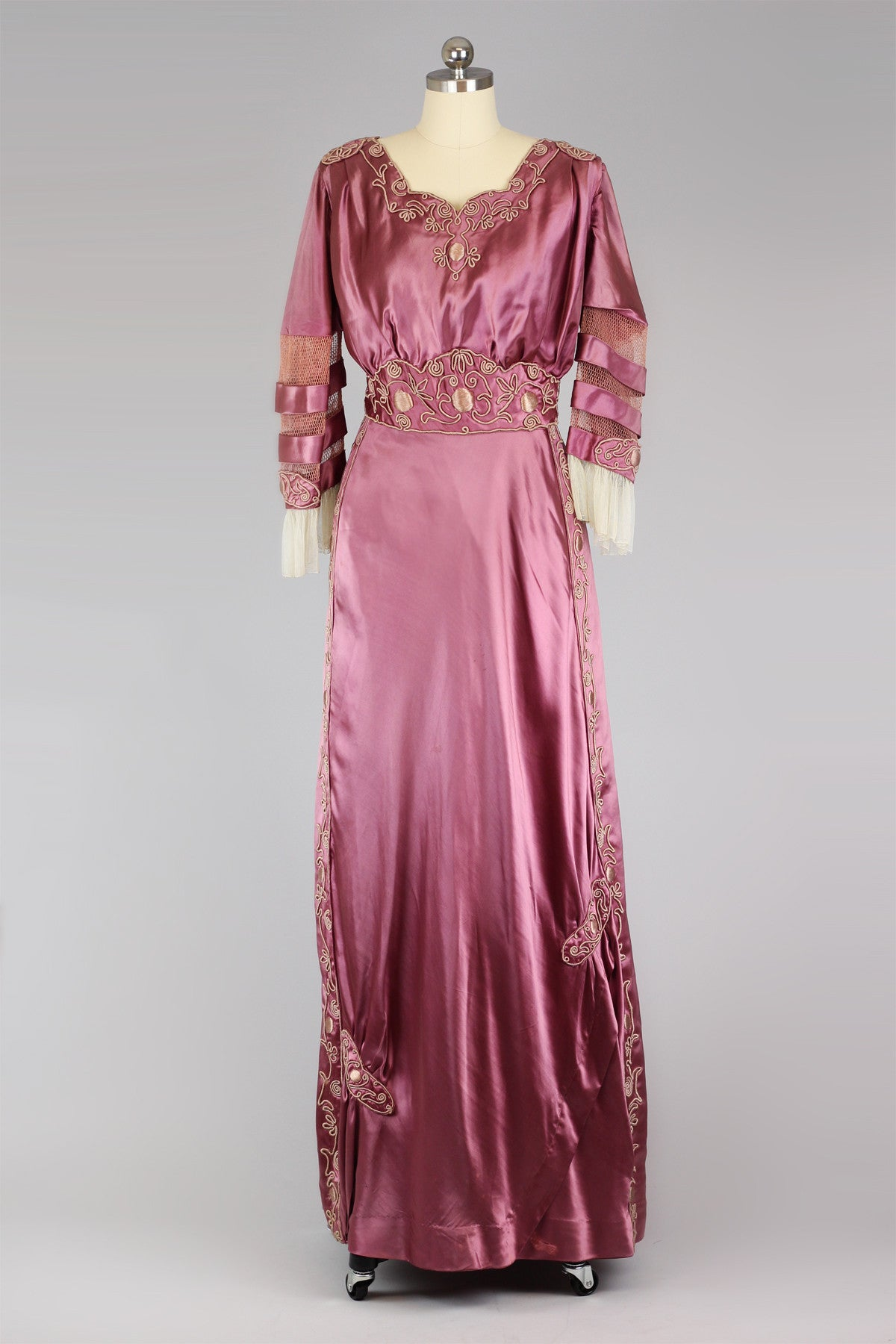 RESERVED Rare Antique Victorian Plum Satin Evening Ball Gown